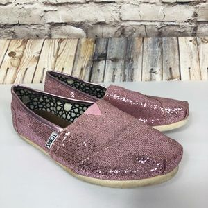 TOMS sparkly pink slip on shoes size 7.5